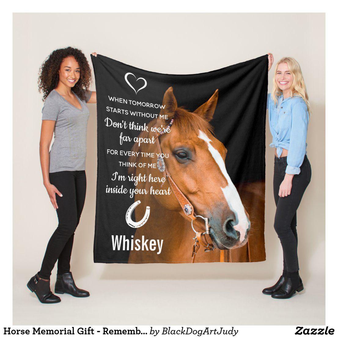 Horse memorial gift remembrance keepsake fleece blanket