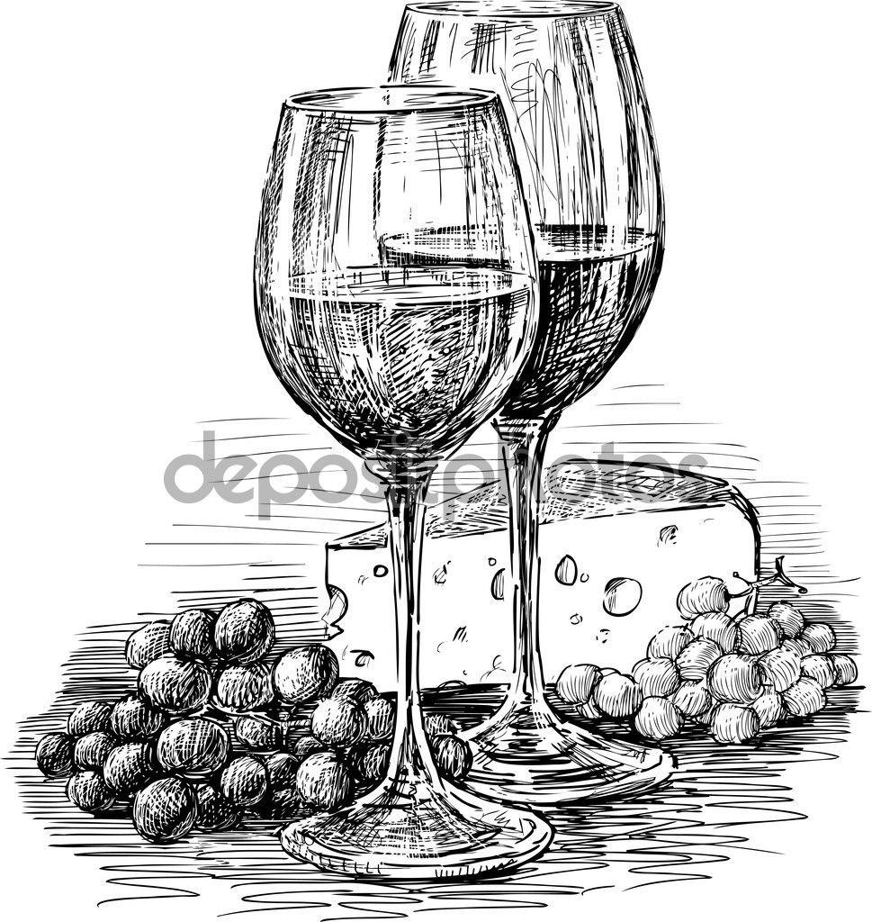 Vector il disegno della natura morta di uva, formaggio e bicchieri ...