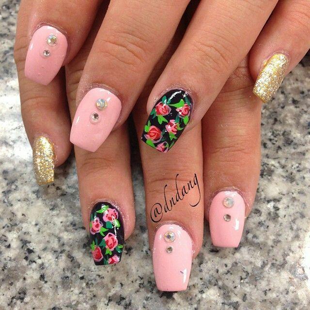 Gold Glitter Pink And Black Rose Nailart Nailart Nails Black