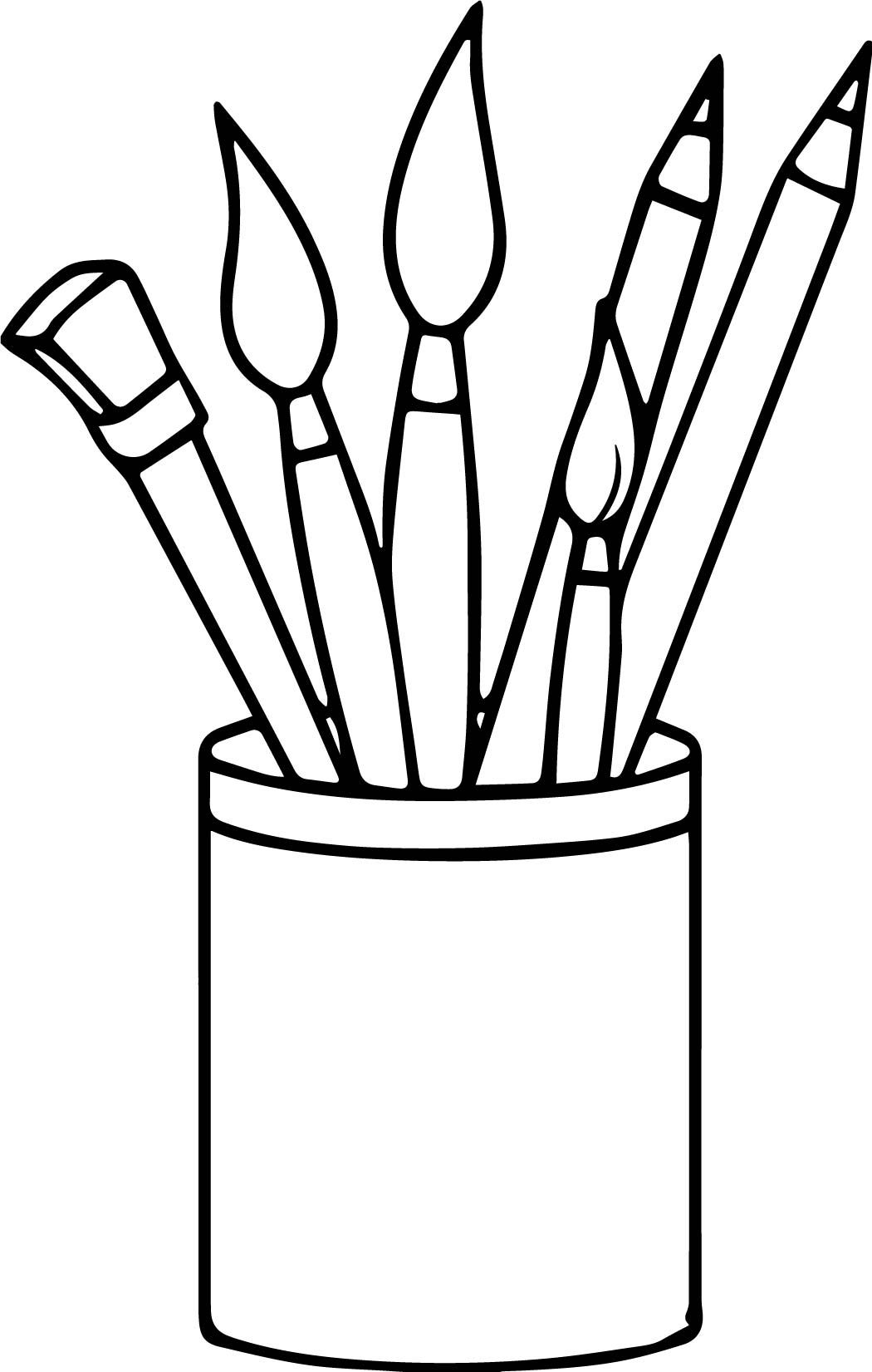 Nice Art Supplies Pencils Paint Brushes Coloring Page