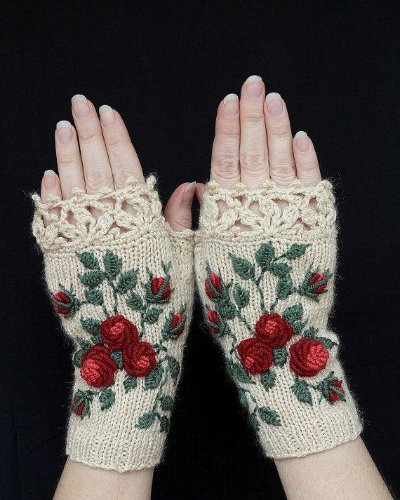 Guantes de marfil con rosas rojas, guantes sin dedos de punto, guantes y mitones, mitones, ideas de regalos, para ella, accesorios de invierno, marfil, rosas