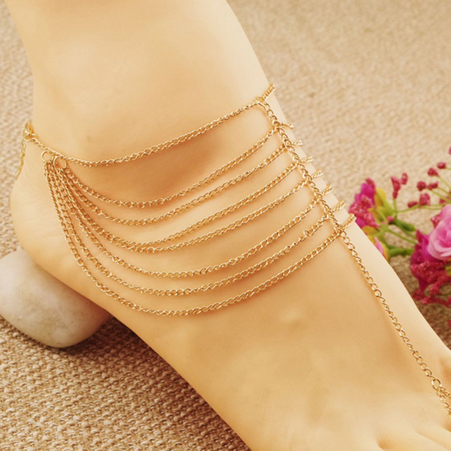 Aukmla fashion ankle bracelets for women and girls gold ueueue check