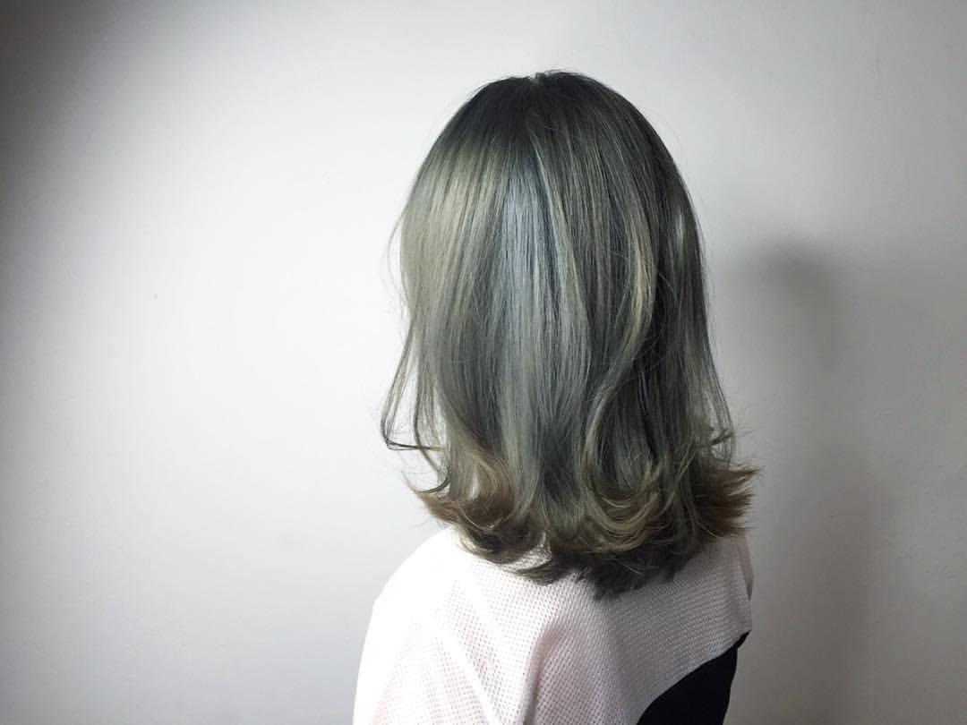 Mint Grey Ash Medium Bob Cleo Hair International Call Here 63385250 For Book Appointment Hair Gaya Rambut Pendek Warna Rambut Ide Potongan Rambut
