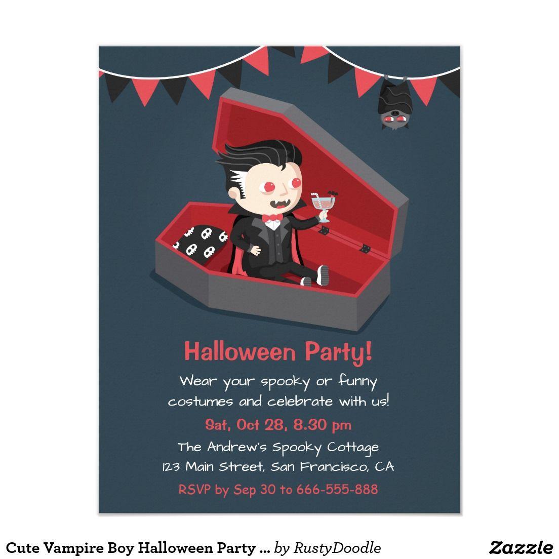 Cute Vampire Boy Halloween Party Invitations | Kid\'s Holiday ...