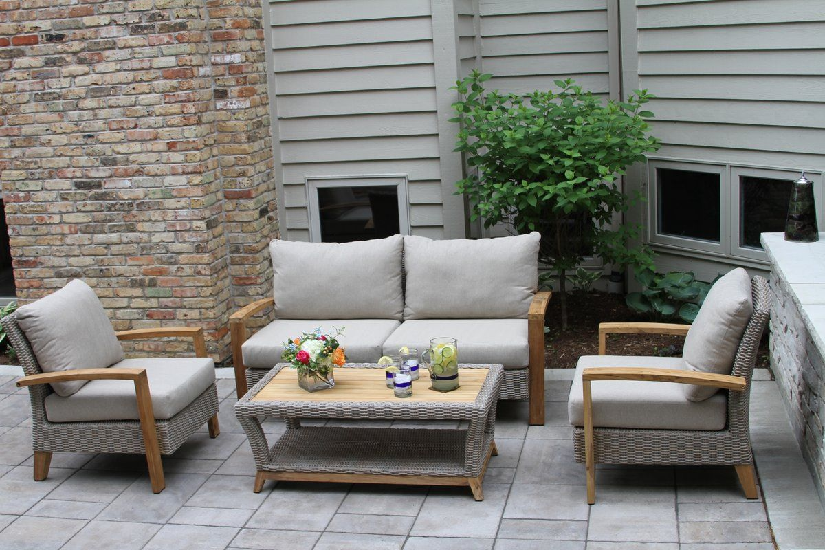 Dillard 4 piece teak sofa seating group with cushions