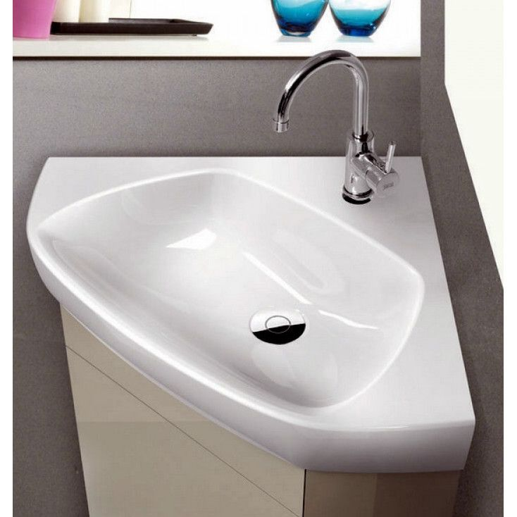 Features:  Includes One Faucet Hole.  Faucet Not Included. Installation  Type:  Corner Sink/Self Rimming Sink/Wall Mount Sink.