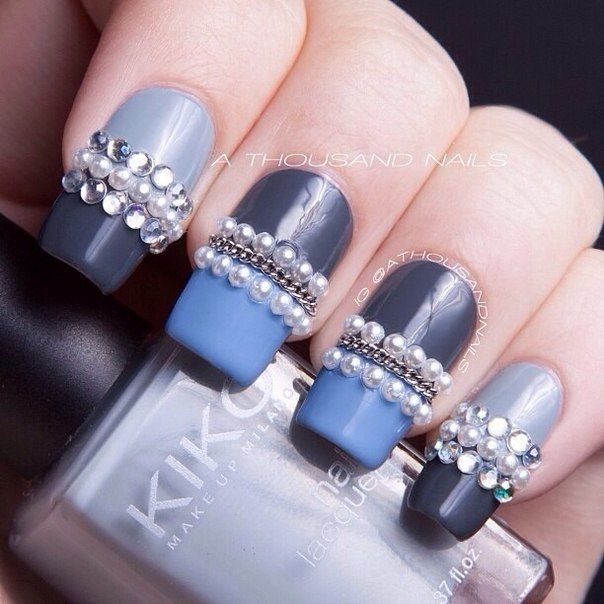 Two-Toned Embellished Gem Nails