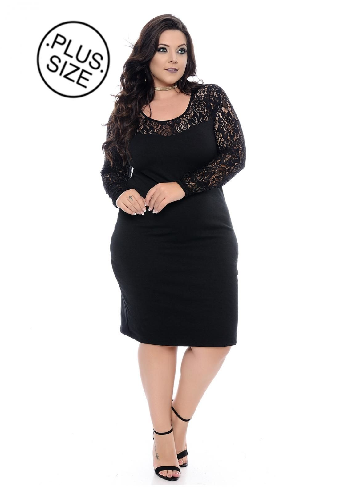 b5a6c4e0e3 Vestido Plus Size Domenica Solazzo Black