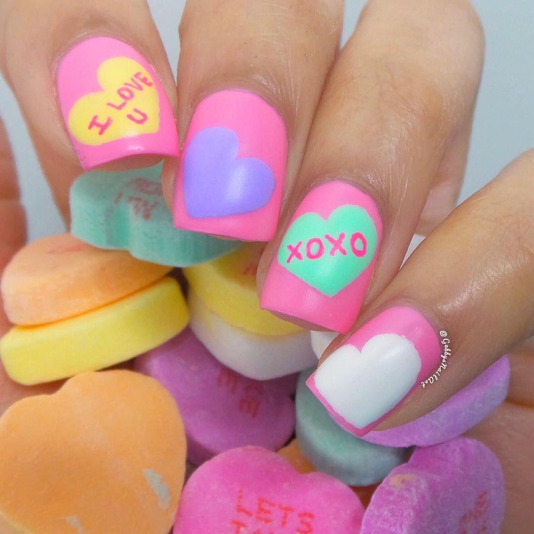Valentineus day inspired candy heart nail nail art heart nails