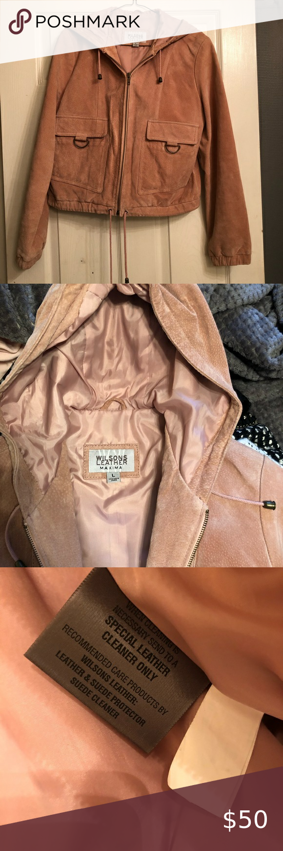 Wilson's Leather blush suede hooded crop coat in 2020