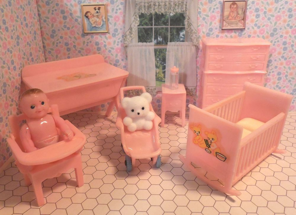 Renwal NURSERY SET WITH BABY Vintage Tin Dollhouse Furniture Ideal Plastic 1 :16 #Renwal