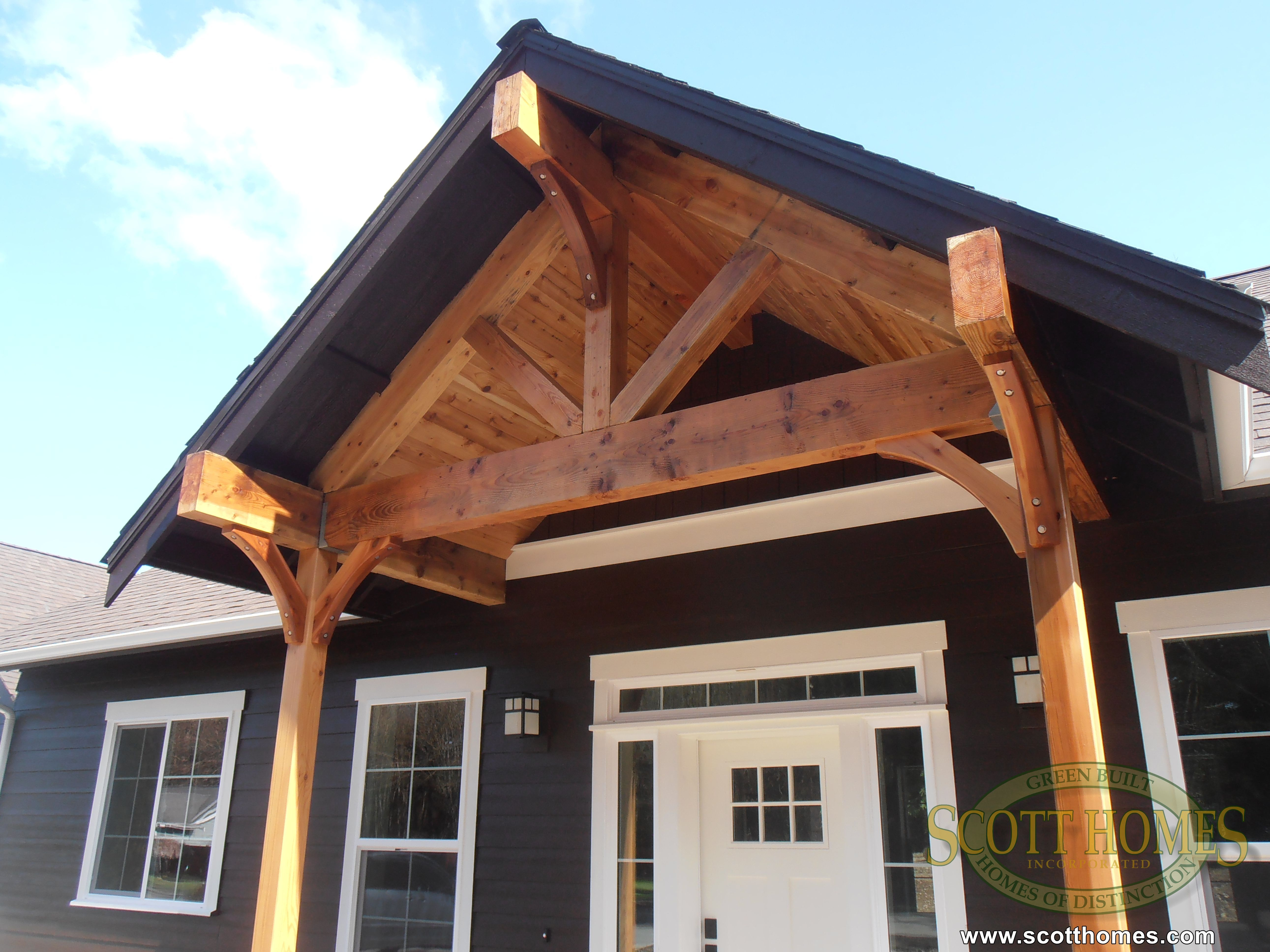 Patio Ceiling Beams : The front porch keeps a true craftsman feel this shows