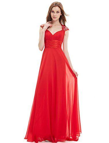 e71cb28897 Ever Pretty Juniors Floor Length Trailing Sequins Empire Waist Prom Dress 4  US Vermillion Ever-