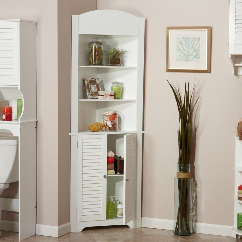 New Bathroom Linen Corner Cabinet Storage Tower 3 Shelves White Bath Towels Home Corner Storage Cabinet Tall Corner Cabinet Corner Cabinet