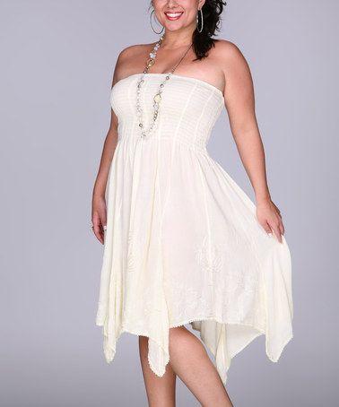 Another great find on #zulily! Beige Shirred Strapless Handkerchief Dress - Plus #zulilyfinds