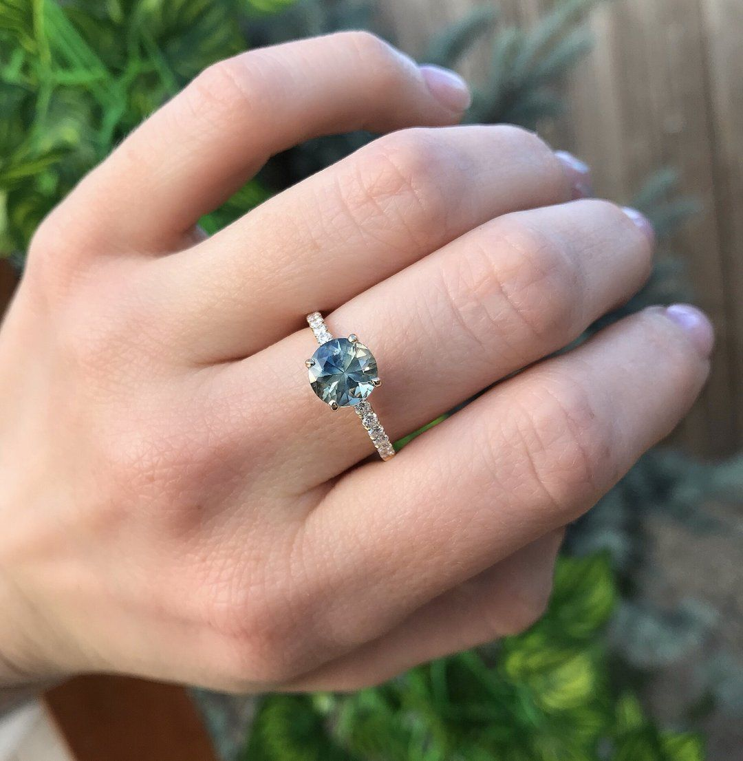 1.78ct Parti Teal Montana Sapphire and Diamond Solitaire