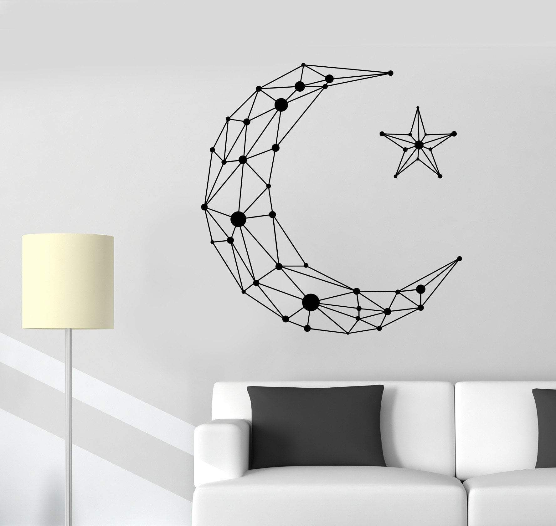 vinyl wall decal geometric moon star art decor room on wall stickers id=93467
