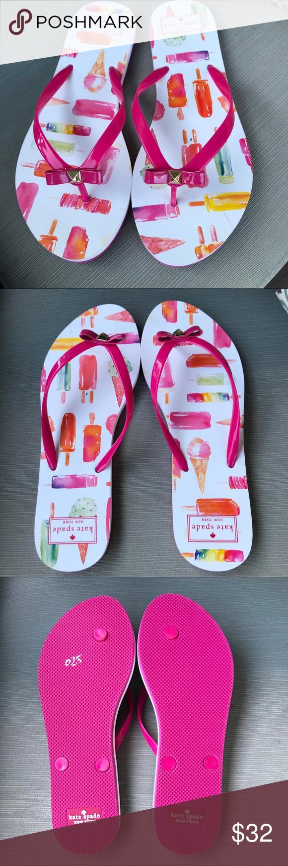 97a5731d87bb NEW Kate Spade Popsicle Print Flip Flops