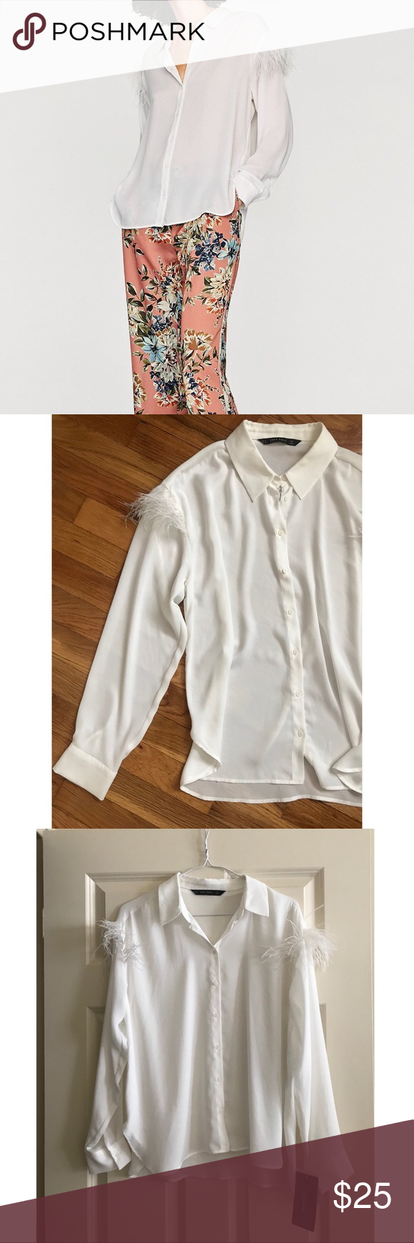 7edba30a341d0 ZARA FEATHER SHIRT New with tags white button down shirt Size  Medium Zara  Tops Blouses