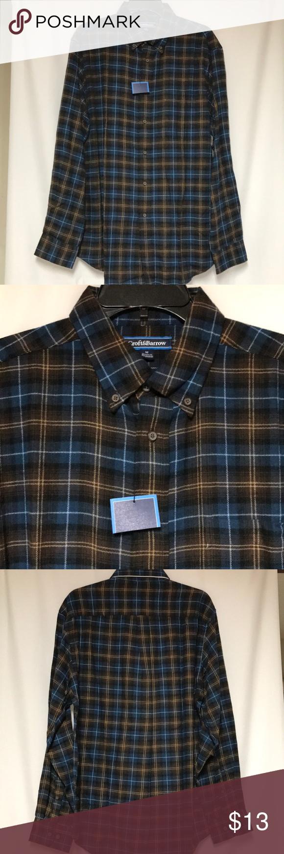 Croft Barrow Men S Plaid Flannel Shirt Size M New Brown Blue
