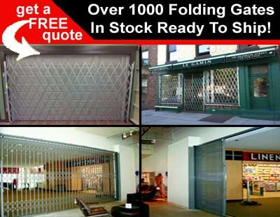 Folding Security Gates On Sale With Over 1000 Scissor Gate Prefabricated & Ready To Ship. Folding Gates. Folding gates block access to passageways and buildings without blocking ventilation or limiting visibility.  Warehouses and manufacturers use folding gates to protect halls, entrances to buildings, warehouse doors, docks, and plant entrances.  Schools and hospitals also use them to prevent unauthorized access to rooms and offices.