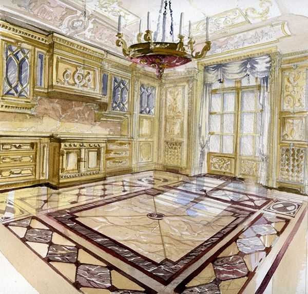 Hand Drawing Perspectives Of Classical Interiors Sketch