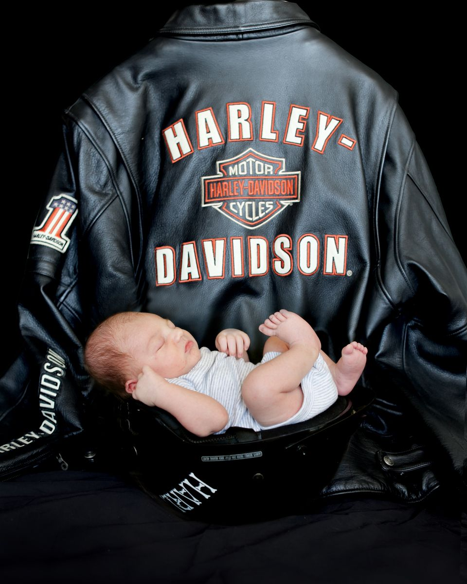 Harley Davidson baby in daddy's helmet with daddy's jacket in ...