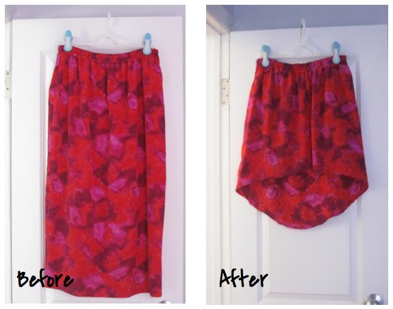 High-low asymetrical skirt diy