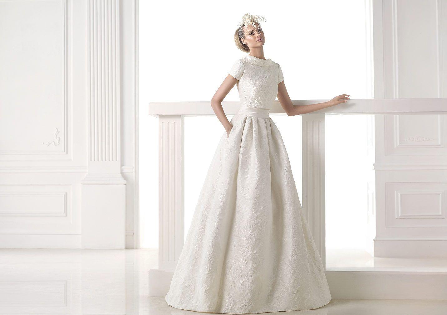 CEILA, Wedding Dress 2015 A-line Brocade And Mikado Silk