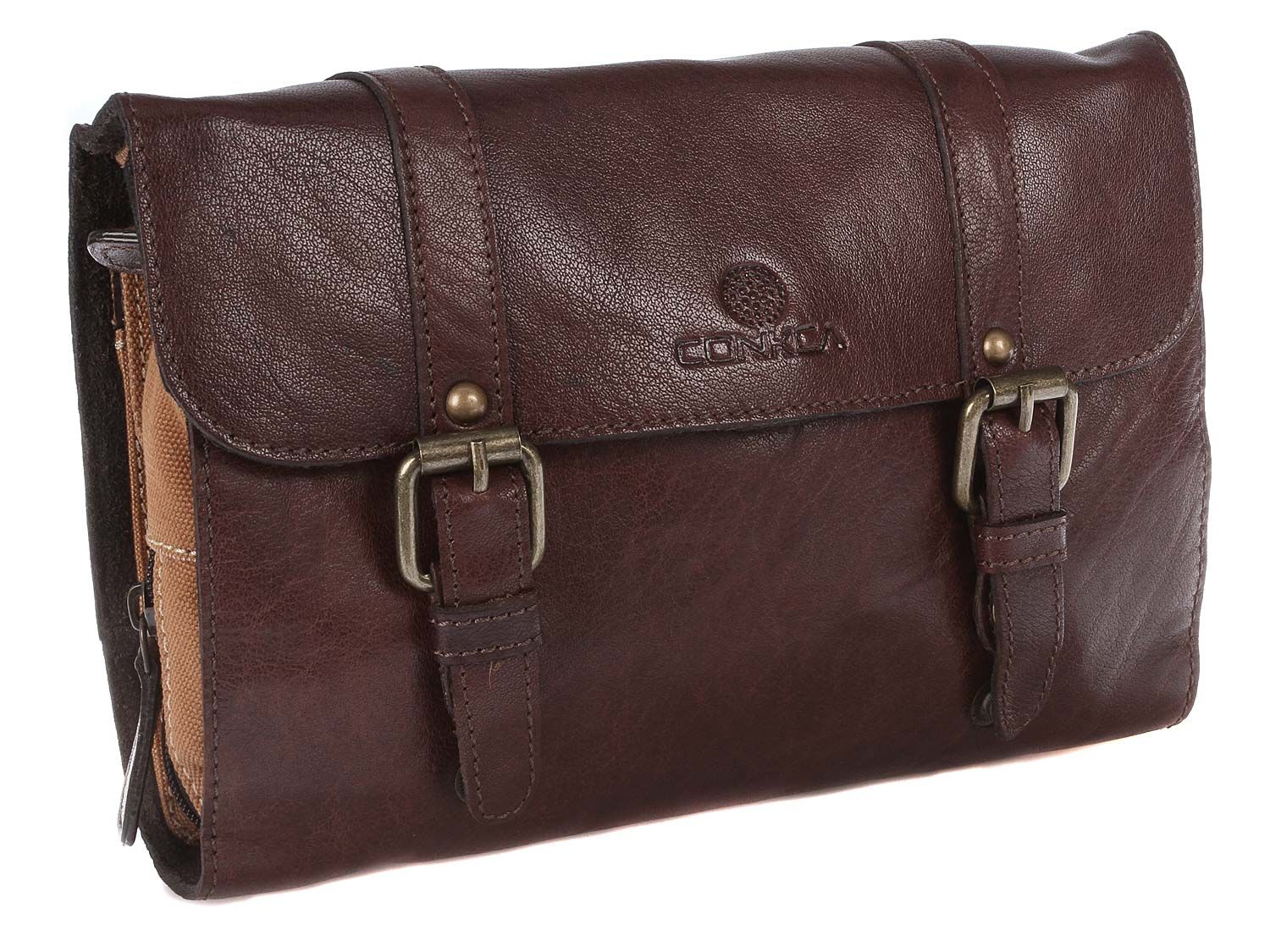 Conkca - London 'Grasmere' Conker Brown Vintage Styled Leather Wash Bag WB1CB-GRASMERE   pureluxuries.com