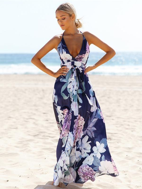 8734da2fd94 Popular Cotton Floral Printed Off Back Deep V Neck Maxi Dress – bonboho