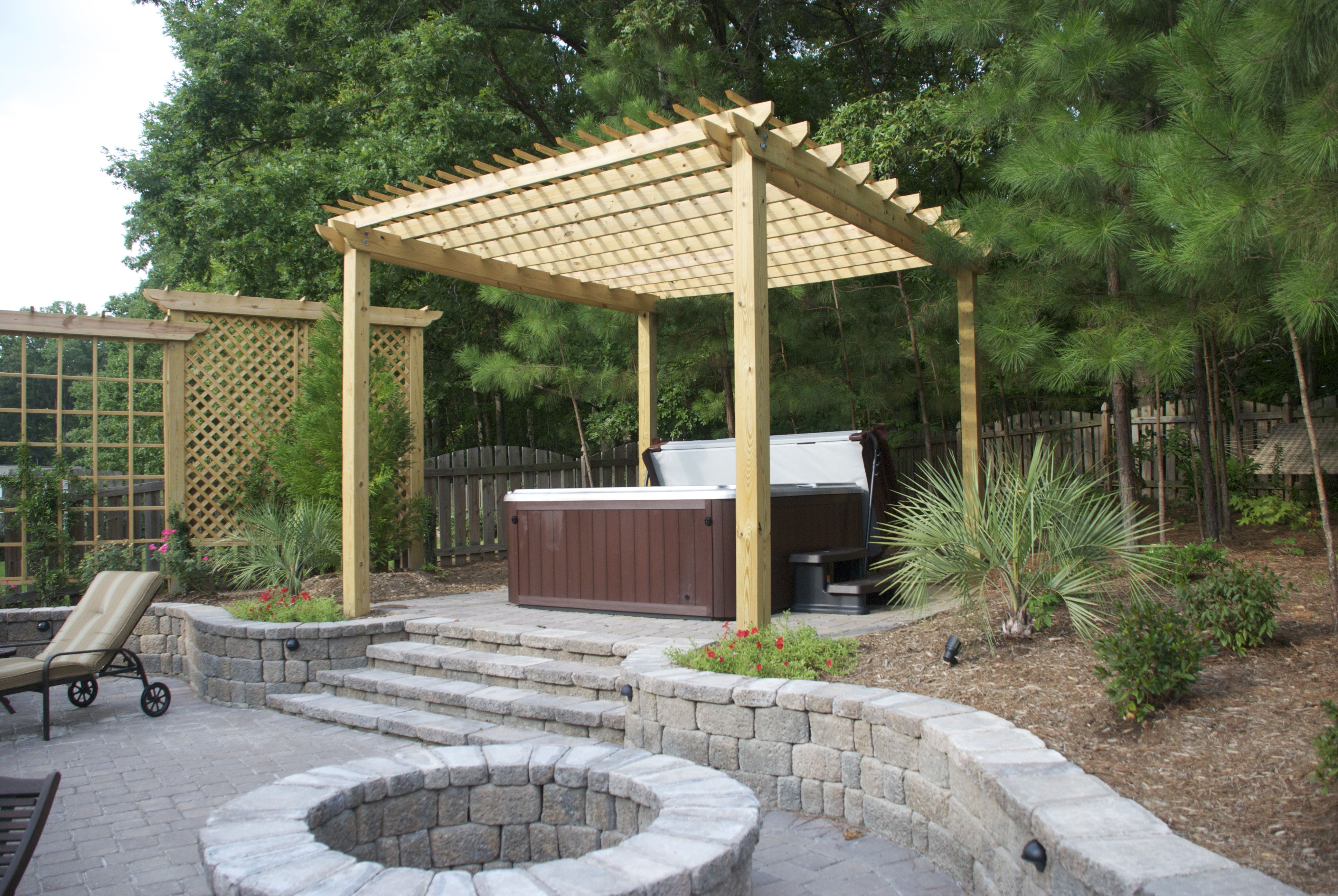 sundance chelsee hot tub  spa installations  backyard ideas  pergola  this hot spring grandee is