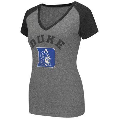 Duke Blue Devils Women's Shadow Tri-Blend Raglan V-Neck T-Shirt – Gray