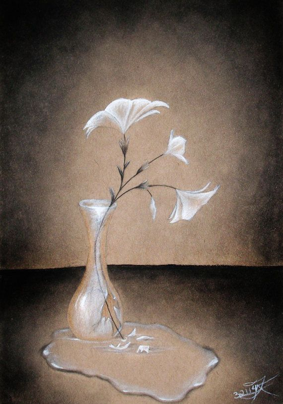 Broken Vase Charcoal Sketch Print Multiple Sizes Available 5x7