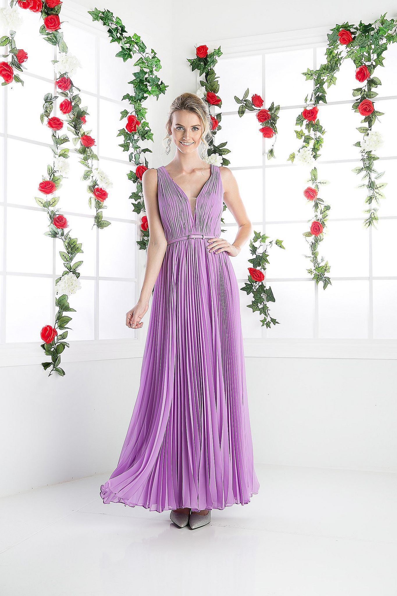 Long Pleated Bridesmaids Dress Formal Evening Dress with Belt