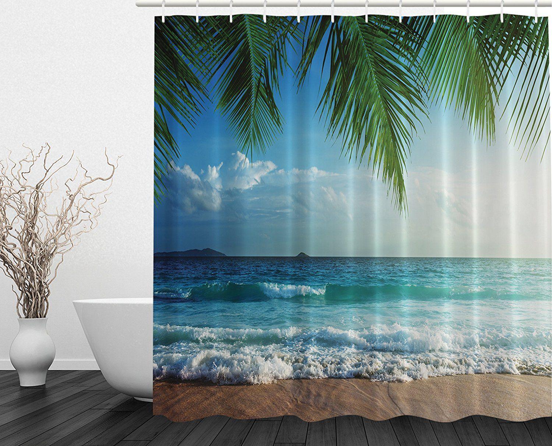 Amazon Com Palms Ocean Tropical Island Beach Decor Maldives High Resolution Photography Home Postcard Beach Shower Curtains Tropical Island Beach Beach Shower