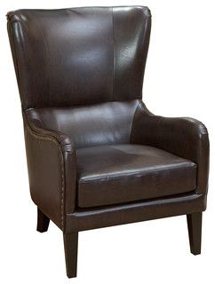 Traditional Armchairs For Living Room Discount Furniture Clarkson Brown Leather Wingback Club Chair By Great Deal