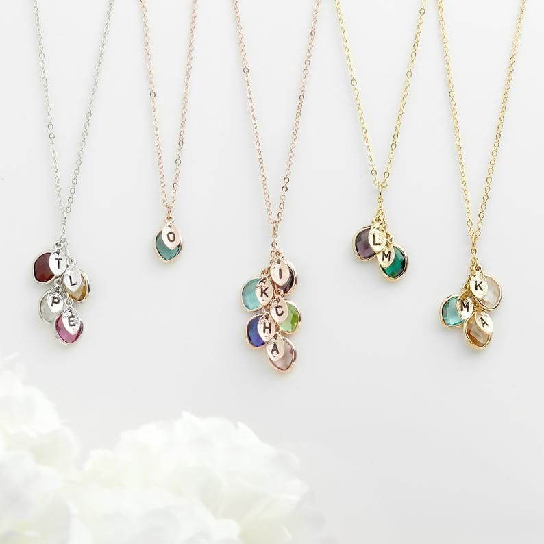 Birthstone Necklace Gift for Mom Family Tree Necklace Grandmother Necklace Initial Leaf Charm