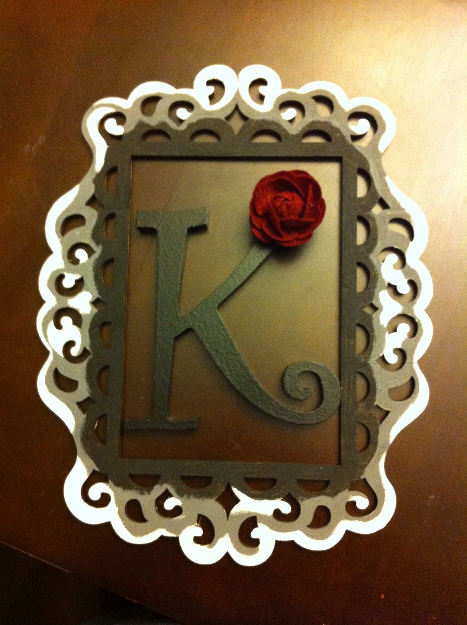 Laser cut frame and letter from Michaels. Initial for by my door ...