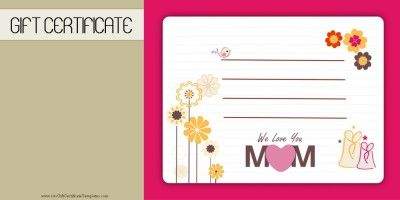 MotherS Day Gift Certificate Templates  MotherS Day