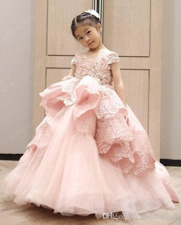419e9c385 Blush Pink Lace Arabic 2017 Flower Girl Dresses Child Dresses Ball Gown  Tulle Vintage Beautiful Flower Girl Wedding Dresses F0719 Flower Girl Dress  Cheap ...