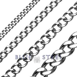 Chain Reaction Heavy Duty Stainless Steel Curb Link Chain Design Necklace Blue Steel Jewelry Featuring Stainless Steel Tungsten And Titanium Jewelry Stainless Steel Chain Necklace Chain Link Necklace Chain