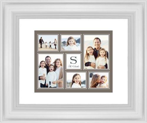 Classic Monogram Framed Print, White, Classic, White, White, Single piece, 8 x 10 inches, Brown