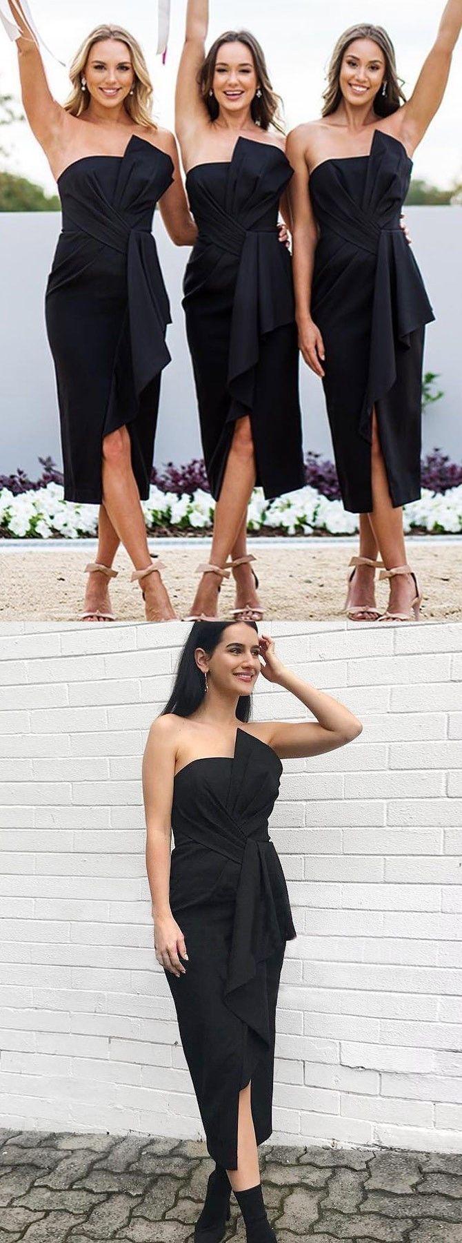 elegant black bridesmaid dresses, simple strapless tight