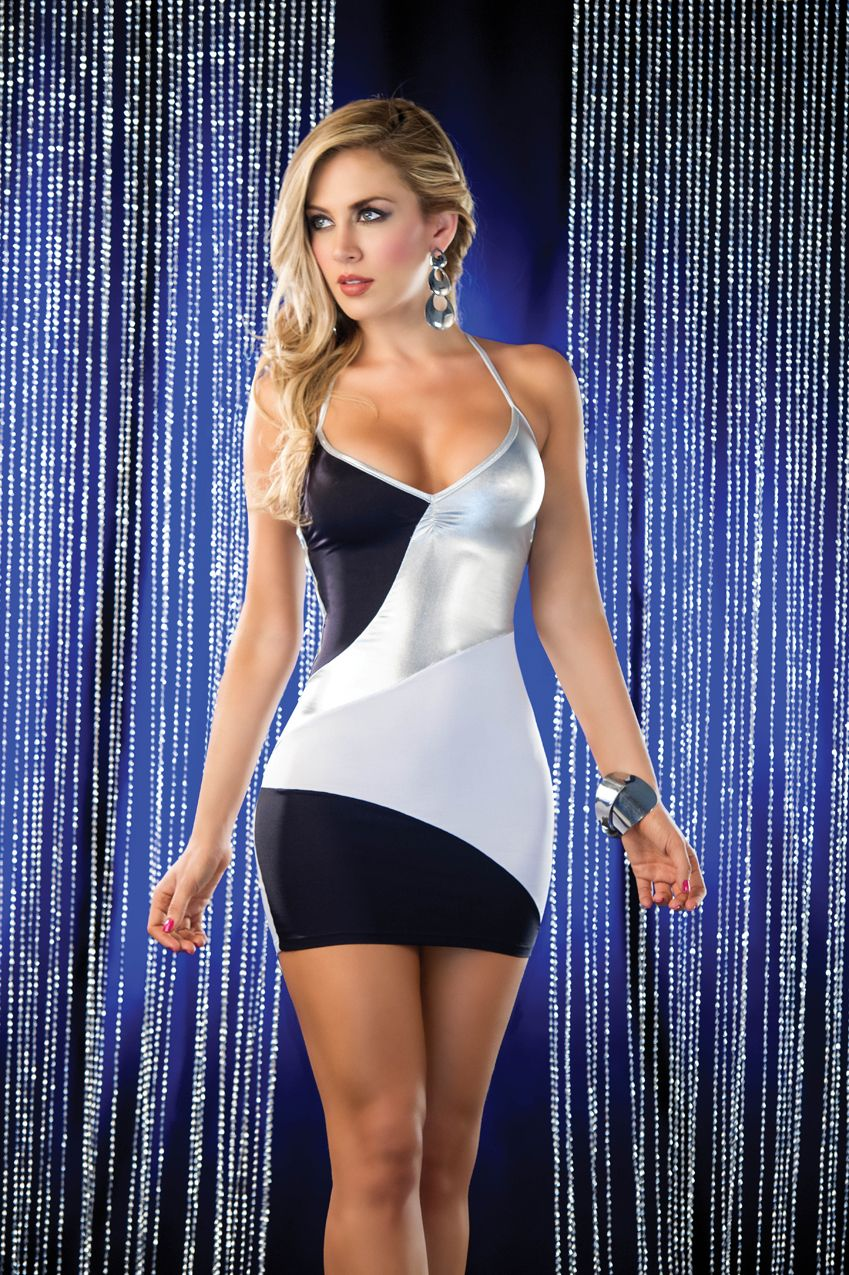 Sexy mini dress with black white and silver sections pucker back