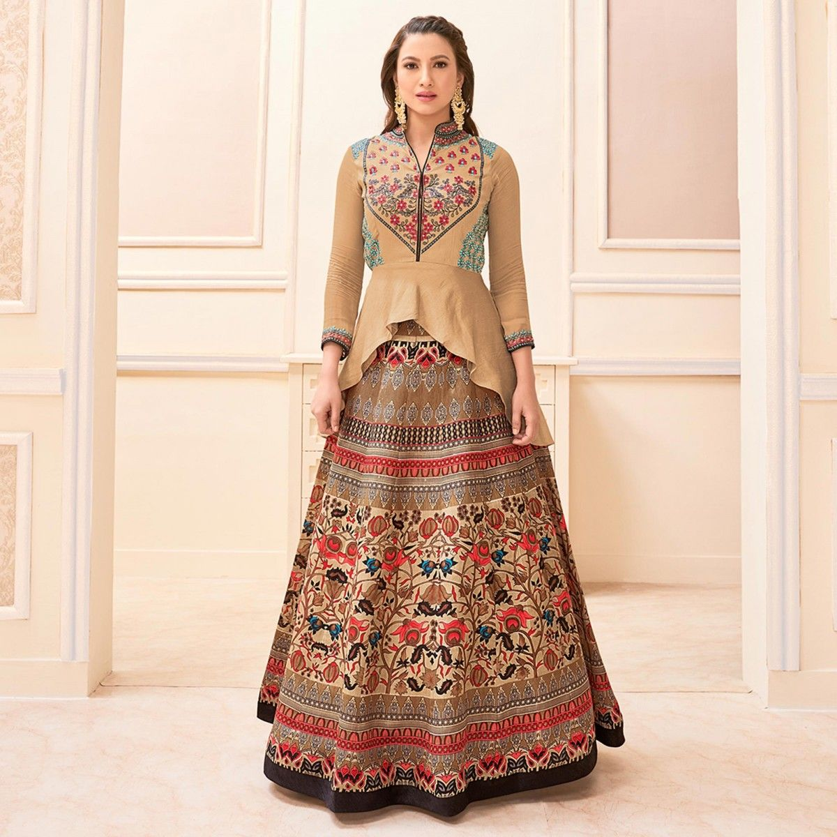 40138649f Buy Beige - Brown Designer Lehenga Suit for womens online India, Best  Prices, Reviews - Peachmode