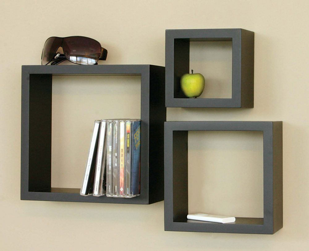 Elegant Furniture, Astounding Storage Solutions Magazine Furniture Interior  Decorative With Black Floating Shelves Design Minimalist Style Also CDs And  Apple Along ...