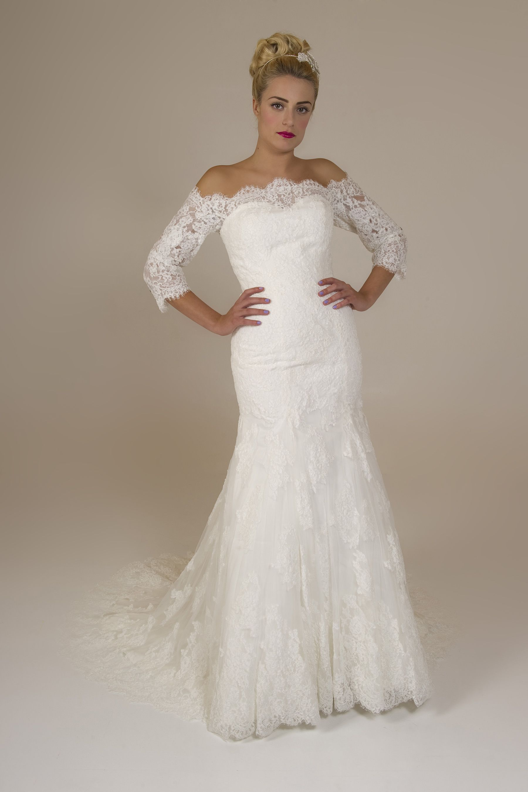 Louisa Brides by Harvee lace fishtail wedding dress with