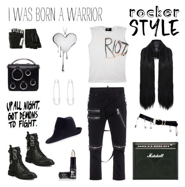 """""""Rock Chic"""" by deepwinter ❤ liked on Polyvore featuring LUSASUL, Julien David, Dsquared2, Majesty Black, Giuseppe Zanotti, Manic Panic NYC, MSGM, Versace, Philip Treacy and Unreal Fur"""
