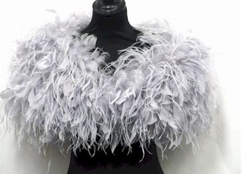 822cdb474106 Stunning Silver Grey Ostrich and ruffle feather Shrug Wrap Cape ...